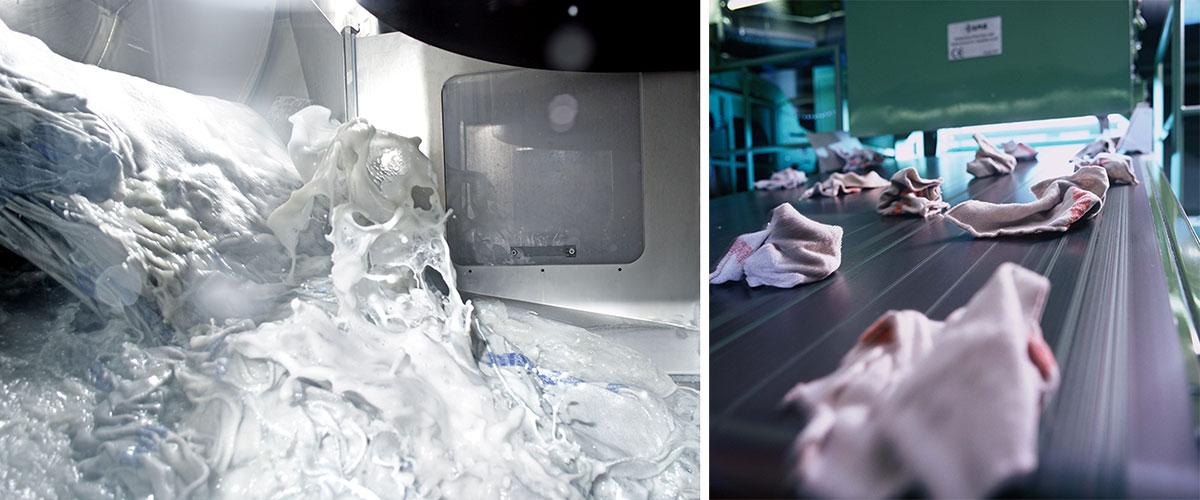 Os panos são lavados no sistema automatizado da MEWA (Foto: MEWA)